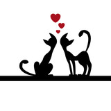 Two cats in love, valentine illustration