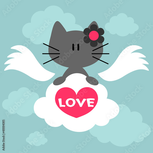 Valentine illustration with cute kitty
