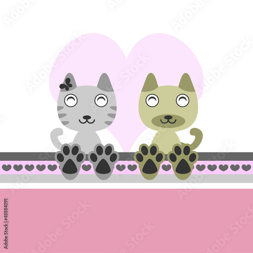 Two cute kittens in love, valentine illustration