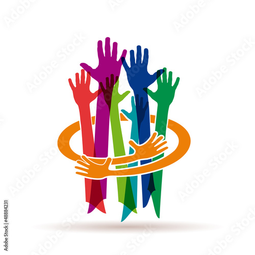 Colorful Teamwork rainbow # Vector
