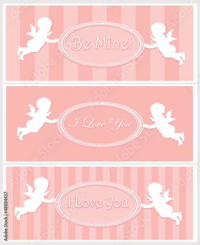 Set of Valentine cards with cupids and copy space