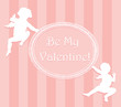 Valentine card with cupids and copy space. Separate layers