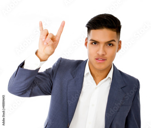 hispanic boy horn gesture