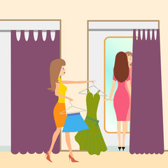 Two girls in a fitting room