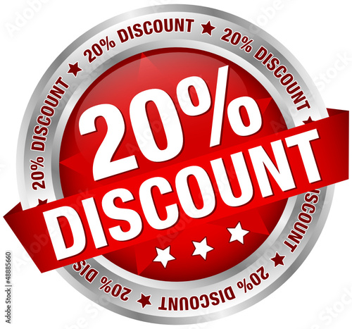 "Button Banner ""20% Discount"" rot/silber"
