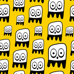 Funny bacteria seamless pattern.