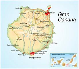 Landkarte von Gran Canaria.Kanarische Inseln