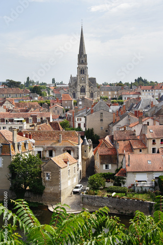 Medieval French Riverside Village with Church Spire