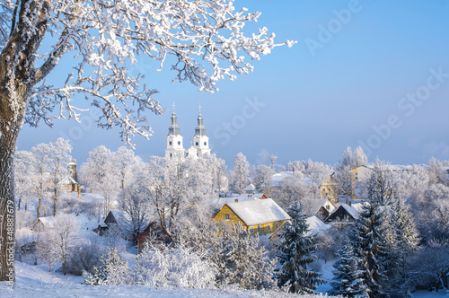 Cold winter. Frosted town in Lithuania. Zemaiciu Kalvarija