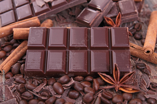 close up on chocolate bar and spices
