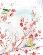 Spring card  with singing birds on branches of a blossoming tree