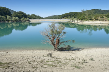 Little lake on Apennines in Molise region, Italy