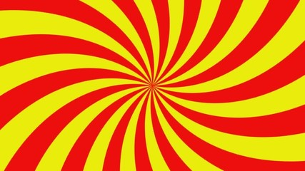 Rotating vortex with red and yellow stripes