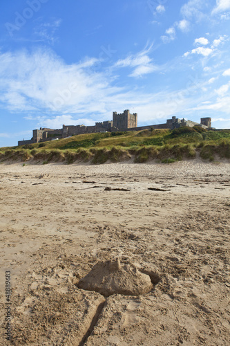 Sandcastle infront of Bamburgh Castle, Northumberland.