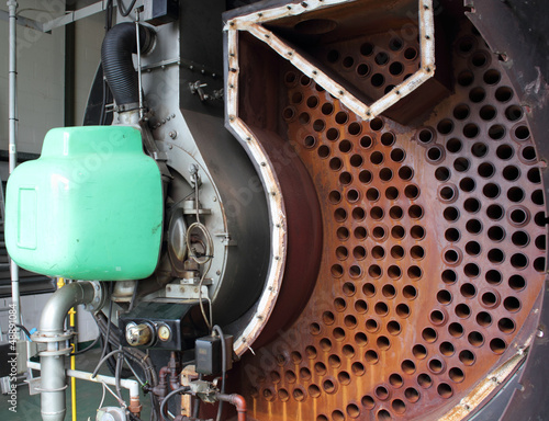 Industrial steam boiler opened for clean & inspection