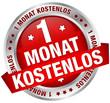 """Button Banner """"1 Monat kostenlos"""" rot/silber"""