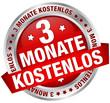 """Button Banner """"3 Monate kostenlos"""" rot/silber"""
