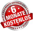 """Button Banner """"6 Monate kostenlos"""" rot/silber"""