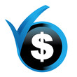 dollars sur bouton validé bleu