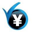 yen sur bouton validé bleu