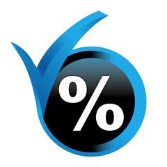 pourcentage sur bouton validé bleu