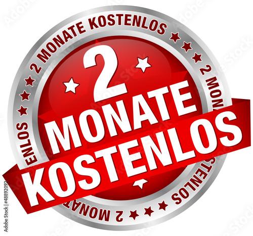 """Button Banner """"2 Monate kostenlos"""" rot/silber"""
