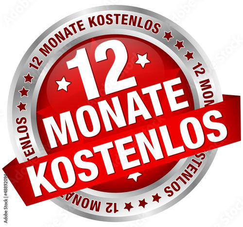 """Button Banner """"12 Monate kostenlos"""" rot/silber"""