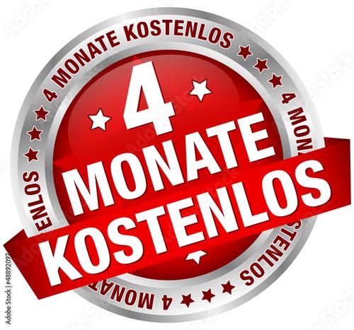 """Button Banner """"4 Monate kostenlos"""" rot/silber"""
