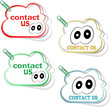 contact us cloud signs set with cute eyes and clip