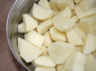 Fresh Peeled Potatoes In A Pot Of Water - ready for cooking