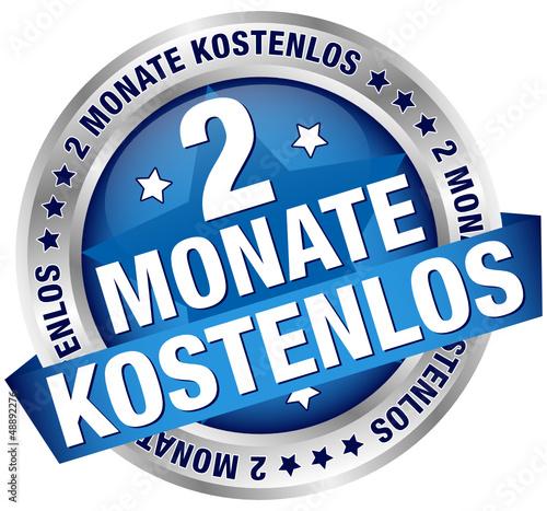 """Button Banner """"2 Monate kostenlos"""" blau/silber"""