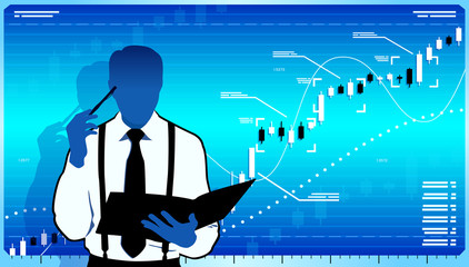 Business analyst think about stock market