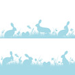 Easter Background Header Meadow Bunny Blue