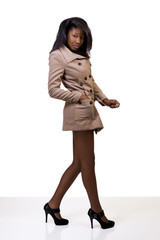 Young African American Woman Coat Bare Legs