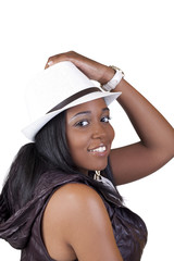 Smiling African American Woman in White Hat