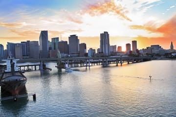 Miami skyline panorama and Biscayne Bay at sunset
