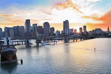 Miami skyline panorama and Biscayne Bay at sunset