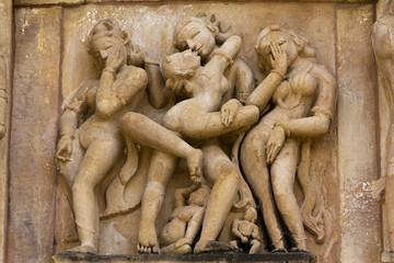 Khajuraho erotic carvings.