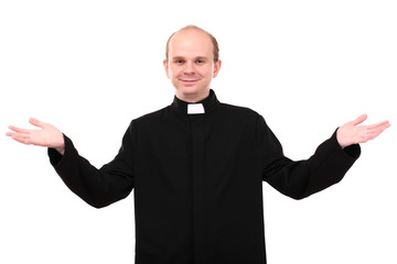 Young priest isolated on white