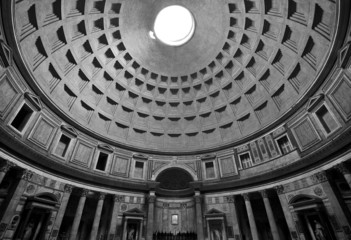 Interior architecture design of the Pantheon in Rome, Italy