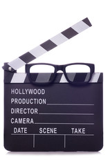 Film clapper with 3d glasses cutout