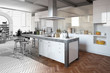 Modern kitchen - partly as wireframe