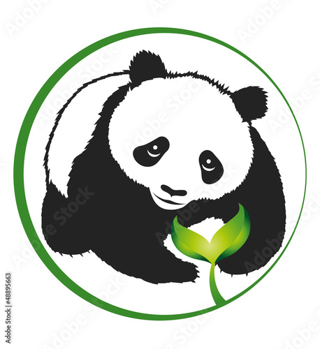 silhouette panda and green sprout, eco emblem