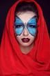 Fashion Make up. Butterfly makeup on face beautiful woman. Art P