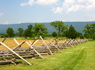 Civil War Battlefield with Fence