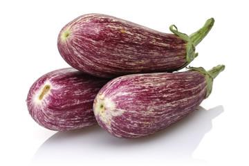Aubergine, eggplant on white background