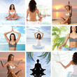 A collage of images with young meditating women