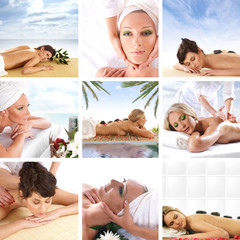 A collage of spa images with young women relaxing