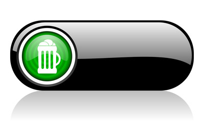 beer black and green web icon on white background