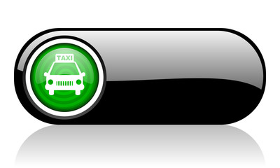 taxi black and green web icon on white background